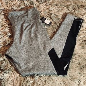 Gray Workout Pants with Mesh Sides